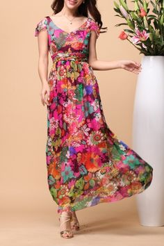 Acemiss Colormix Floral Silk Beach Dress | Maxi Dresses at DEZZAL Click on picture to purchase!