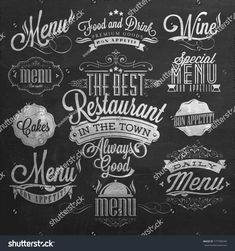 Find Illustration Vintage Typographical Element Menu On stock images in HD and millions of other royalty-free stock photos, illustrations and vectors in the Shutterstock collection. Thousands of new, high-quality pictures added every day. Chalkboard Lettering, Chalkboard Designs, Typography Letters, Chalkboard Walls, Menu Boards, Menu Design, Menu Restaurant, Chalk Art, Lettering Design