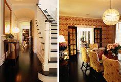 love the dark hardwood floors. slip covered dining chairs, dark stained french doors