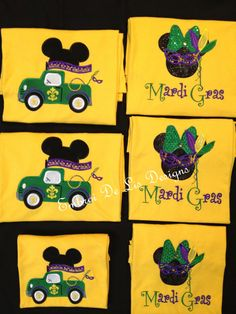 4a199dc5 Disney! Personalized Mickey Mardi Gras Truck Embroidery Applique Shirts! by  EmbroiDeLisDesigns on Etsy https:/