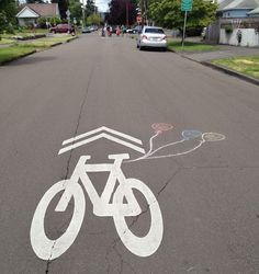 Chalk art along the route of the Portland Sunday Parkways North.