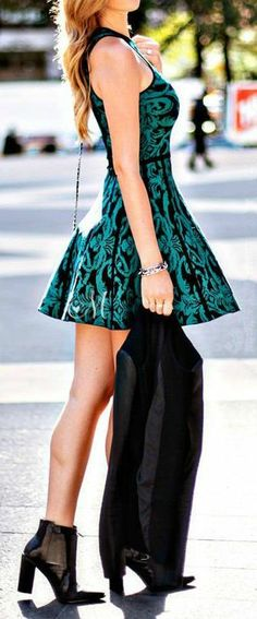 Skater Dress & Moto // #fashion #style{{ love,but way too short,i'd wear it just above the knee or below,Karen S.}}