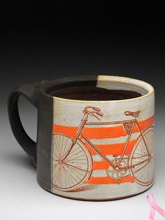 Stacy Snyder Ceramics, coffee mug A Vibrantly Vintage kind of coffee cup....just well makes me jump for joy....:)