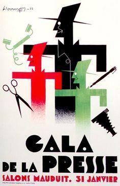 """""""'Gala de La Presse' Salons Mauduit. 31 Janvier"""", (1933), Imprinted: 'Chantreau', Nantes, (France), Size: 78 x 120 cm., Illustration and Graphic: Signed (in Top Left) but not Decipherable! ~  Original Vintage Art Deco Poster."""