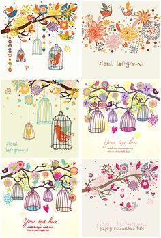 小鳥とフローラル・グリーティングカードのデザイン
