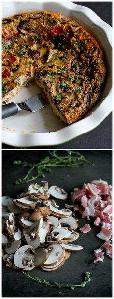 Pancetta and Mushroom Crustless Quiche by cookingcanuck #Quiche #Pancetta #Mushroom