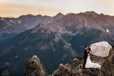 Bride/Groom portrait at Kicking Horse Mountain Resort in Golden, BC.