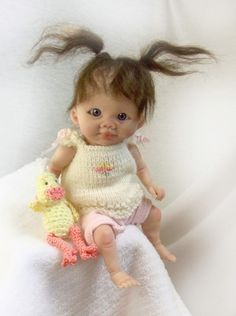 OOAK Polymer clay Original Sculpted Collector Doll BABY GIRL & DUCK ~TRice