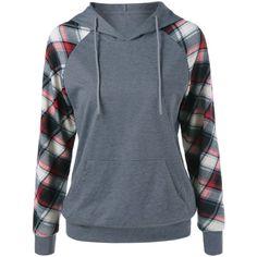 Plaid Trim Single Pocket Hoodie ($15) ❤ liked on Polyvore featuring tops, hoodies, blue top, hooded pullover, blue hoodie, hooded sweatshirt and blue hooded sweatshirt