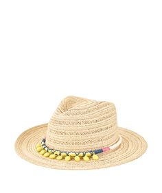 Womens Paperbraid Fedora w/ Pom Trim