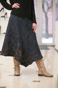 Купить Юбка длинная, нунофелтинг, валяние, одежда из войлока, ручная работа - темно-серый, юбка