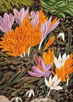 """Adolf Dietrich (Swiss, 1877–1957) - """"Krokusse und Schneeglöckchen"""" (Crocuses and snowdrops), 1943 George Grosz, Global Art, Naive, Art Market, Pansies, Flower Art, Printing On Fabric, Berries, Illustration Art"""