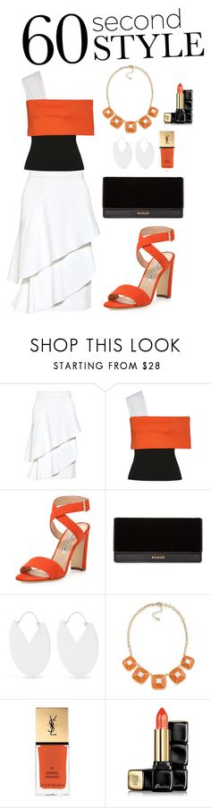 """Untitled #73"" by ladyasdis ❤ liked on Polyvore featuring Marissa Webb, Rosetta Getty, Manolo Blahnik, Balmain, Isabel Marant, 1st & Gorgeous by Carolee, Yves Saint Laurent, Guerlain, asymmetricskirts and 60secondstyle"