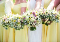 Image by HBA Photography - Shiningford Manor wedding venue in Ashbourne with 1920's style Charlie Brear bridal gown, pastel bouquets and yellow bridesmaid dresses by HBA Photography.