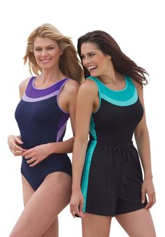Plus Size Colorblock tank swimsuit in stretch knit by Inches Off® | Plus Size swim | Woman Within