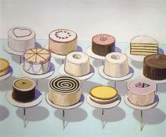 Wayne Thiebaud, born in is commonly affiliated with the Pop Art movement. Many of his more well-known works consist of images of cakes, pastries, and makeup. Colors in these images tend. Wayne Thiebaud Cakes, Wayne Thiebaud Paintings, National Gallery Of Art, Pop Art, Juan Sanchez Cotan, Deco Buffet, Painted Cakes, Art Object, Art Plastique