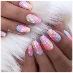 Ideas Spring Pedicure Ideas Pastel For 2019 Fabulous Nails, Gorgeous Nails, Acrylic Nail Designs, Nail Art Designs, Nails Design, Pink Design, Design Design, Acrylic Nails, Glitter Nails