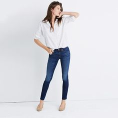 """Our signature sexy fit, made from some of the best denim in the world. This is The Jean—capital """"T,"""" capital """"J."""" <ul><li>Monogramming now available for US customers: To have this item embroidered with up to nine letters (initials, a pet's nickname, your hometown) for $10, please call 866 544 1937—FYI, we love red or navy thread with denim.</li><li>Premium 93% cotton/6% poly/1% elastane denim from the ISKO™ mill.</li><li>Medium indigo wash with subtle distressing.</li><li>Copper hardware…"""