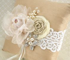 Ring Bearer Pillow Bridal Pillow in Champagne, Nude, Blush Pink and Ivory with Lace, Brooch, Jewels and Pearls- Vintage-Inspired