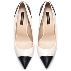 Zara two-tone black and white court shoes Shoeperwoman found on Polyvore