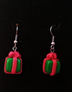 Polymer Clay Christmas Present Earrings by MaysClay on Etsy, $5.00