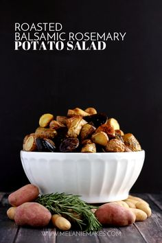 This Roasted Balsamic Rosemary Potato Salad says good riddance to mayonnaise! Instead, these rosemary flecked potatoes are roasted with red onion and garlic and dressed with extra-virgin olive oil and balsamic vinegar. Served warm or at room temperature, this potato salad aims to please.