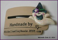 NEW Polymer Clay Bobby Pin Witchy Ghost