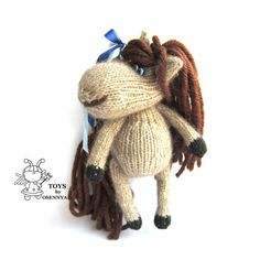 Amusing horse knitting pattern knitted round by simplytoys13