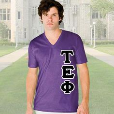 Tau Epsilon Phi V-Neck T-Shirt - Vertical - American Apparel 2456 - TWILL