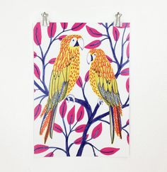 100 Day Project Yellow Parrots Poster