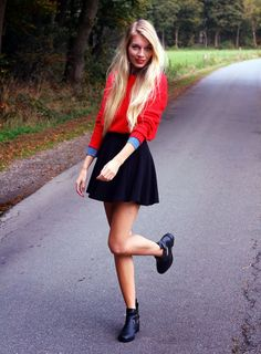 skater skirt and sweater