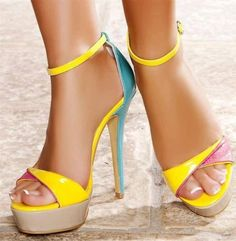 yellow, teal, and pink  heels