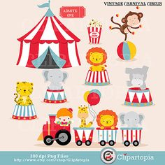 OFF SALE Vintage Carnival Circus Digital clipart / Animal Circus clip art / Circus Train Clipart For Personal and Commercial Use/Instant Circus Theme Party, Carnival Birthday Parties, Circus Birthday, Party Themes, Train Clipart, Circus Train, Animal Templates, Image Clipart, Carnival Themes