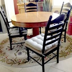 """""""Cushions are soft but have great support. They don't slide around on my chairs. Fabric appears to be very durable."""" -Barb D. Ladder Back Dining Chairs, Black Dining Chairs, Dining Chair Cushions, Ticking Stripe, American Made, Black Stripes, Latex, Traditional, Pillows"""