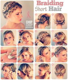 The summer is here and we are in need of great summer hairstyles! Check out these 13 great summer hair tutorials. Braided Crown Hairstyles, Braided Hairstyles Tutorials, Diy Hairstyles, Wedding Hairstyles, Braids For Short Hair, Short Hair Styles, Curly Hair, Summer Hair Tutorials, Short Wedding Hair