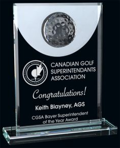 Mercuy Mirror Golf Optic Crystal Award Trophy