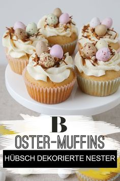 These sweet Easter muffins are a great souvenir for Easter - and the star on every coffee table. We show how you can manage the pretty Easter nests here. Easter Cupcakes, Baking Cupcakes, Easter Bread Recipe, Delicious Desserts, Dessert Recipes, Easter Dinner Recipes, Easter Treats, Holiday Treats, Star