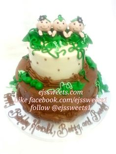 """Three peas in a pod! Three siblings with the same birthday, but not triplets. A 6"""" key lime cake frosted with cream cheese frosting, and a 10"""" vanilla cake frosted with chocolate butter cream frosting,  with custom made fondant peas and pods! #ejssweets #birthdaycakes #peasinapodcake #cakesinmcdonough #customcakes"""