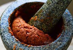 Basic Red Curry Paste - Prig Gang Kua using cilantro roots, dried chilis, galangal, garlic, lemongrass, shallots, shrimp paste, Kaffir Lime Zest