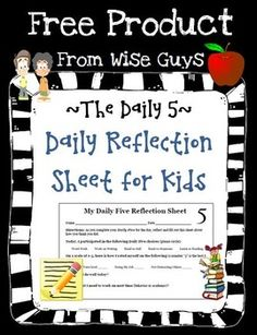Here is a FREE Daily 5 Reflection Sheet for Students that we use in our intermediate classroom. This is a nice self-assessment to see how students used their time during the Daily 5.------------------------------------------------------------------------------------------Click on the titles below to access our best selling ELA Resources!Guided Reading Activities (over 125 pages!)Word Work Task CardsCommon Core Assessment RubricsSpelling ChoicesReading Strategies…
