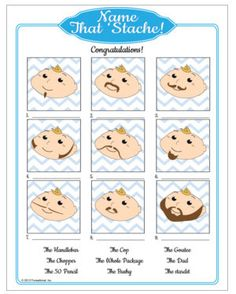 Name that Mustache! Mustache bash baby shower game for little boy shower. Hahahahah