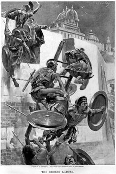 The ladder breaks stranding Alexander and a few companions within the Mallian town by Andre Castaigne (1898-1899)