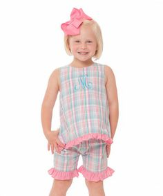 Look what I found on #zulily! Aqua Initial Tie Back Top & Shorts - Infant, Toddler & Girls #zulilyfinds