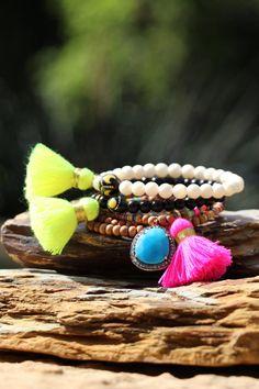 Neon Yellow Tassel Bracelet w Egyptian Kuka by HappyGoLuckyJewels