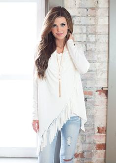 Fringed and Fabulous Crossed Top White