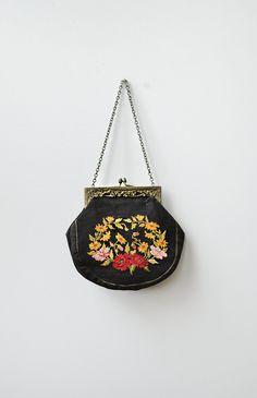 antique 1910s art nouveau black needlepoint purse