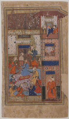 """""""Yusef Serves for Zulaikha at a Feast"""", Folio from a Yusuf and Zulaikha of Jami Maulana Nur al-Din `Abd al-Rahman Jami (1414–92) Object Name: Folio from an illustrated manuscript Date: second half 16th century Geography: Iran, Shiraz Culture: Islamic Medium: Opaque watercolor and gold on paper Dimensions: H. 9 in. (22.9 cm) W. 5 1/4 in. (13.3 cm) Classification: Codices"""