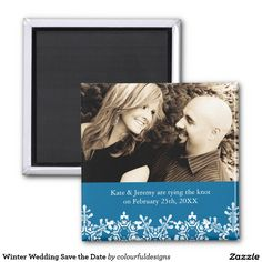 Winter Wedding Save the Date 2 Inch Square Magnet