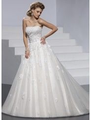Embellished Lace Tule and Chic Organza Strapless Neckline A-line Wedding Dress