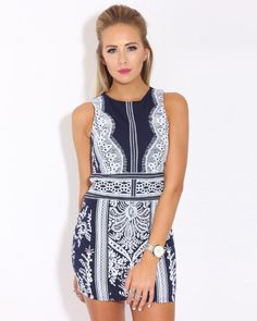616cfb7b15e We can t get enough of this Blue Ornate Bodycon Dress.